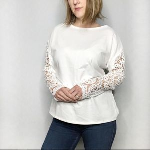 SHEIN White Lace Sleeve Top